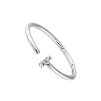 Small white gold You and I diamond ring 0.015 ct, J03880-01, hi-res