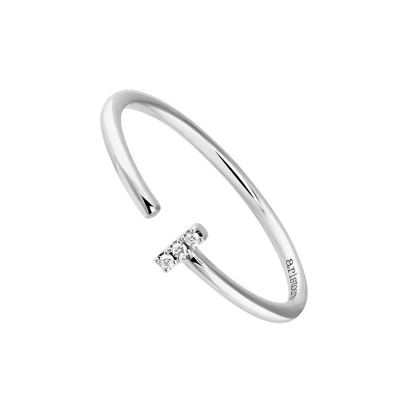 Anillo tú y yo pequeño diamantes oro blanco 0,015 ct, J03880-01, hi-res