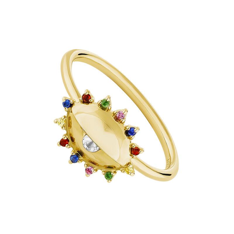 Gold plated silver eye symbol white topaz ring, J04404-02-WT-MULTI, hi-res