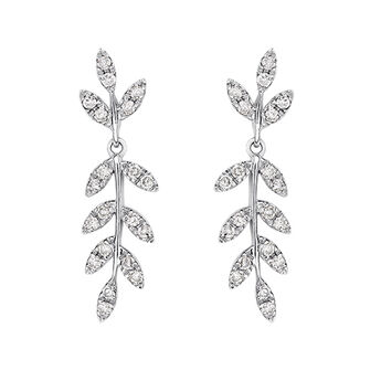 Pendientes colgantes hojas diamantes plata, J03121-01-GD, hi-res