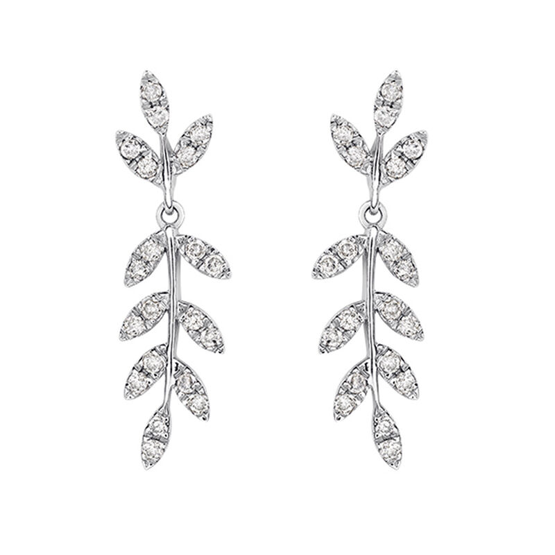 Silver leaves earrings with diamonds, J03121-01-GD, hi-res
