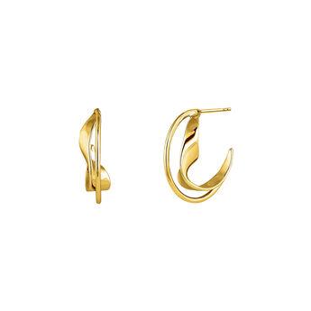 Medium gold plated sculptural hoop earrings , J04219-02, hi-res