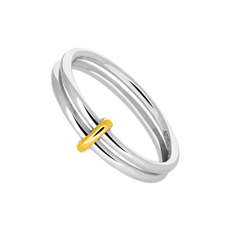 Gold and silver double hoop ring, J03489-09, hi-res