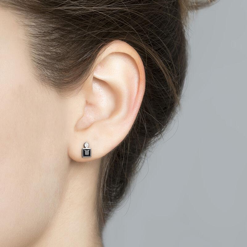 Boucles d'oreilles petites spinelle argent, J04088-01-BSN-WT, hi-res