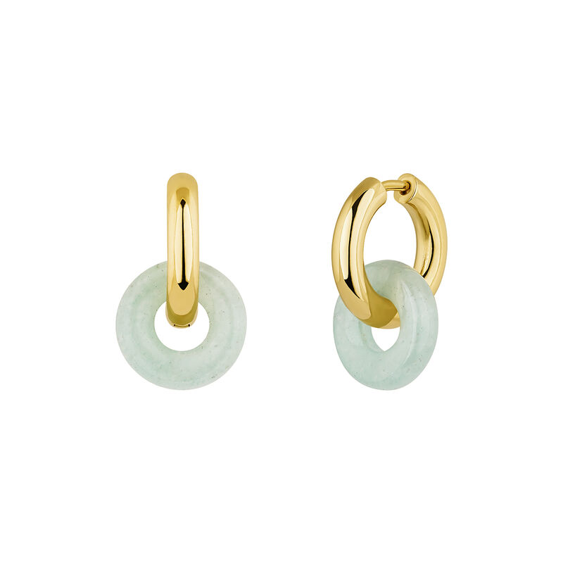 Gold plated silver aventurine earrings