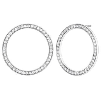 Silver circle earrings with topaz, J04051-01-WT, hi-res