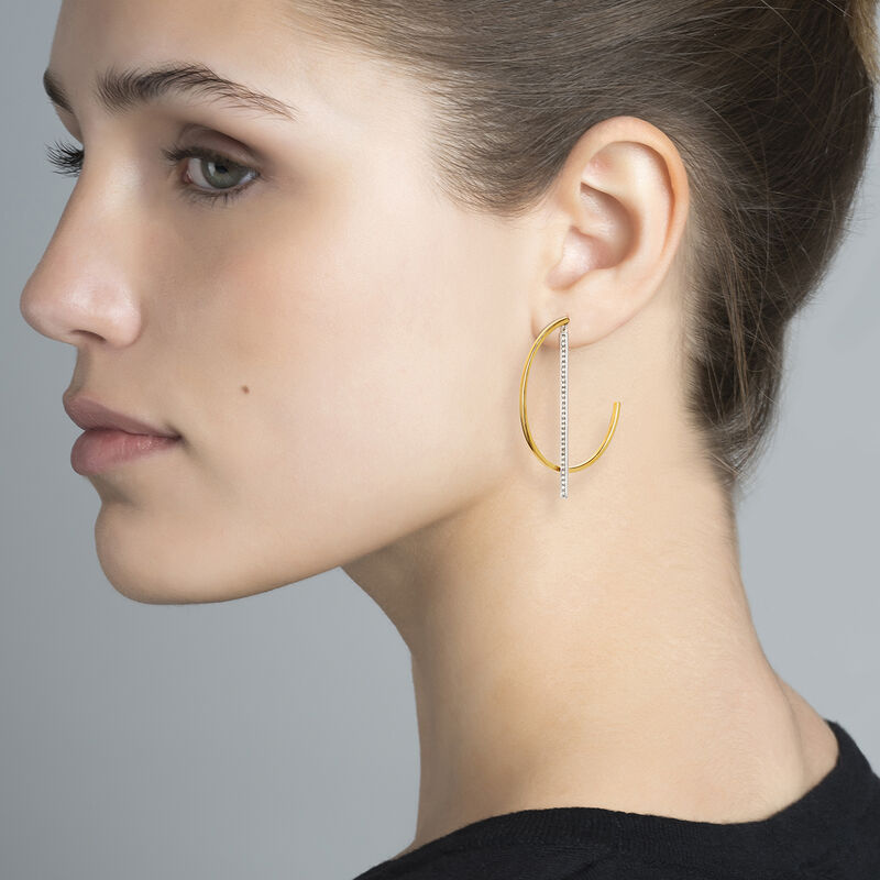 Bicolor pendant hoop earrings with topaz, J04031-09-WT, hi-res