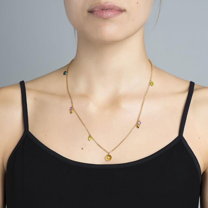Gold Stone Geometric Ethnic Necklace, J03542-02-PEAMLB, hi-res