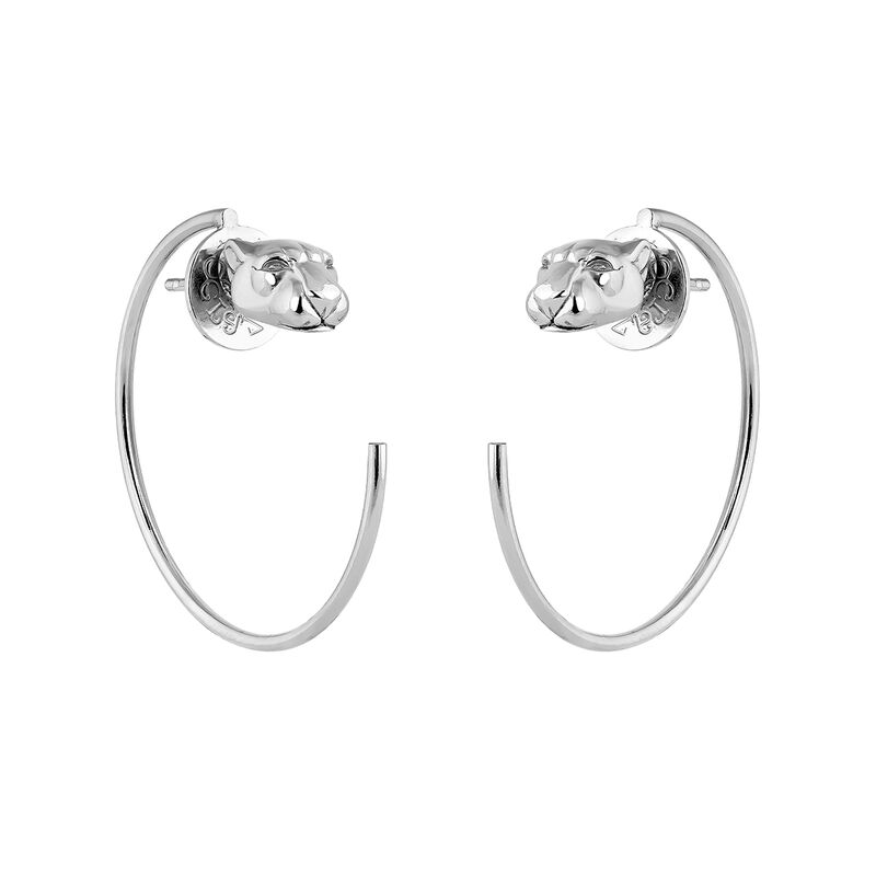 Silver panther hoop earrings, J04195-01, hi-res