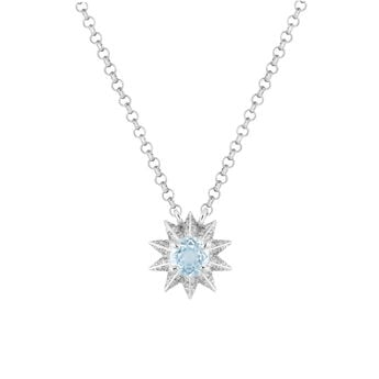 Silver necklace with blue topaz and diamond, J03308-01-SKY-SP, hi-res