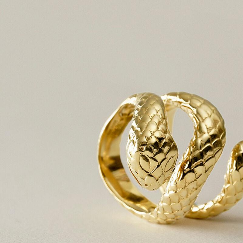 Anillo serpiente abierta plata recubierta oro, J00305-02, hi-res