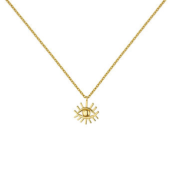 Collar motivo ojo plata recubierta oro, J04857-02, hi-res
