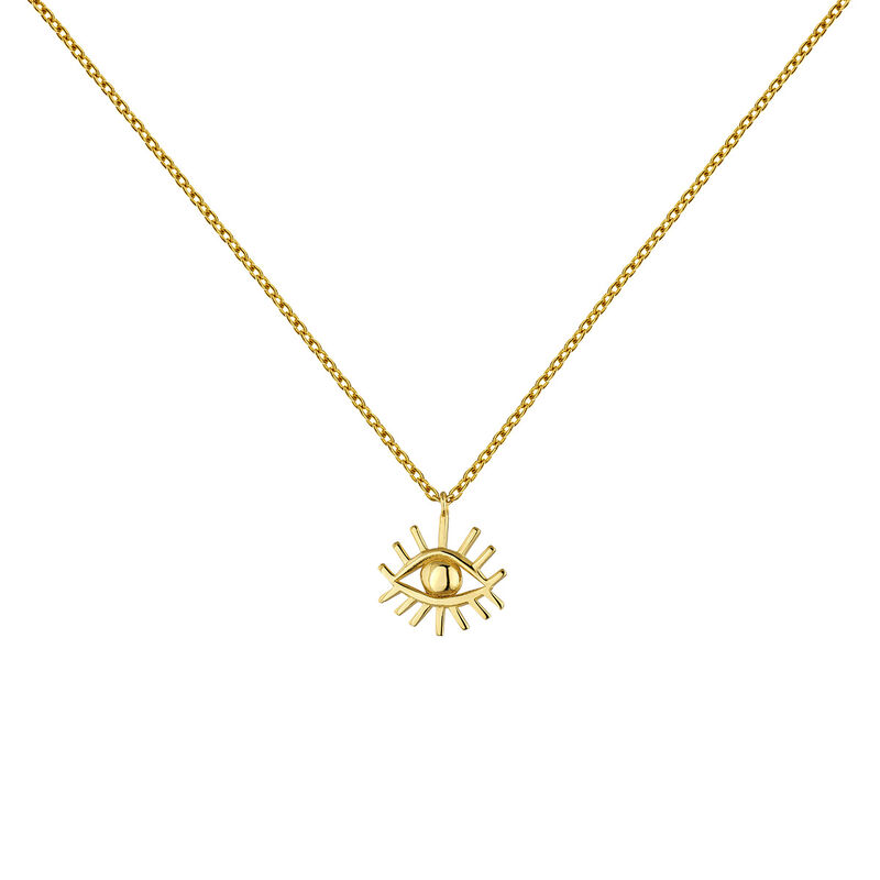 Gold plated silver eye motif necklace, J04857-02, hi-res