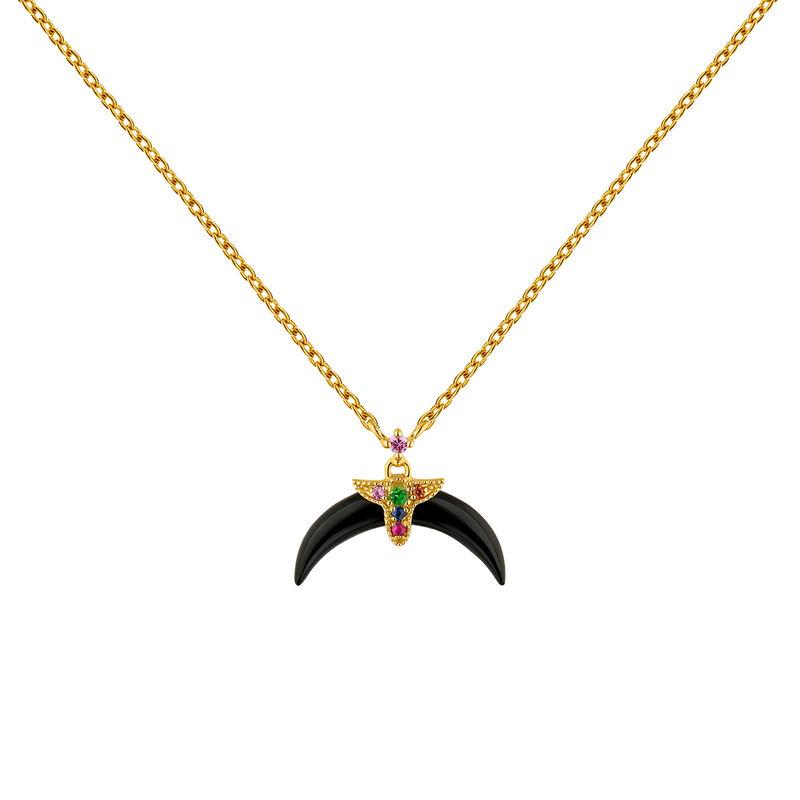 Collar cuerno ónix motivo multipliedra plata recubierta oro, J04316-02-ONMULTI, hi-res