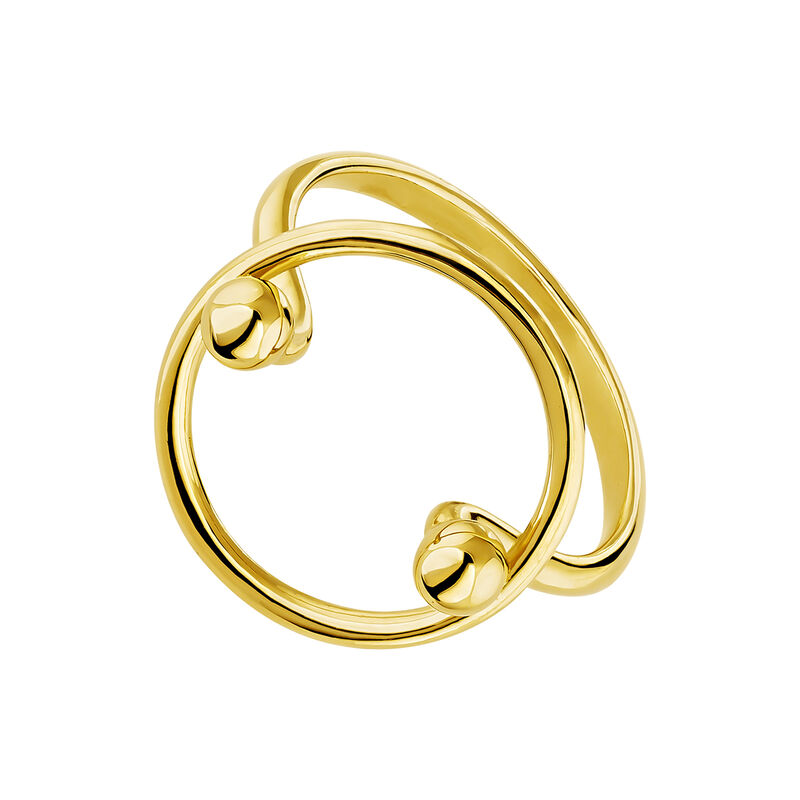 Gold plated silver piercing balls circle ring, J04326-02, hi-res