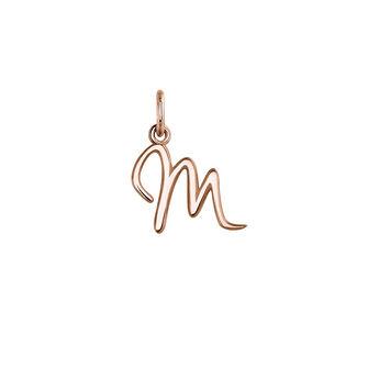 Pendentif lettre M argent plaqué or rose, J03932-03-M, hi-res
