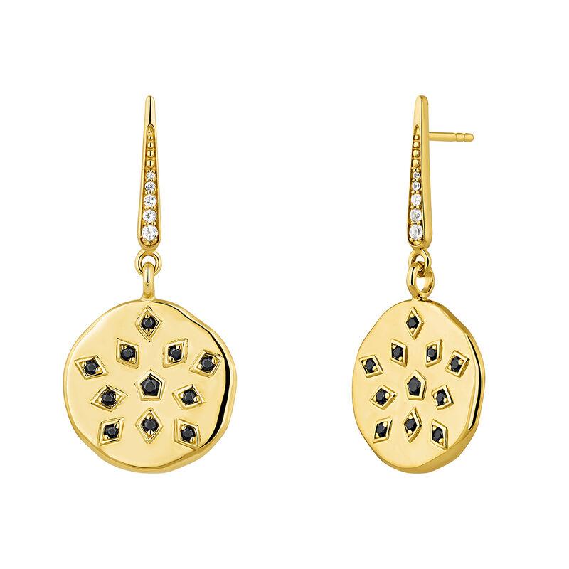 Gold plated spinel topaz medal earrings, J04263-02-WT, hi-res