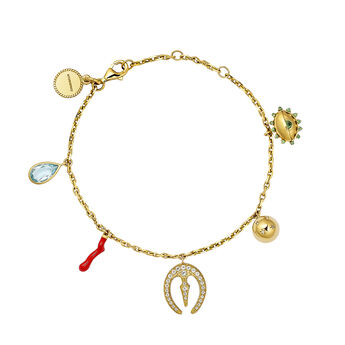 Gold plated motifs bracelet, J04300-02-SKYWT-EN, hi-res