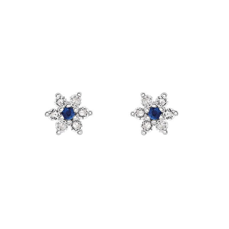 Pendientes flor zafiro azul plata, J03331-01-BS-WT, hi-res