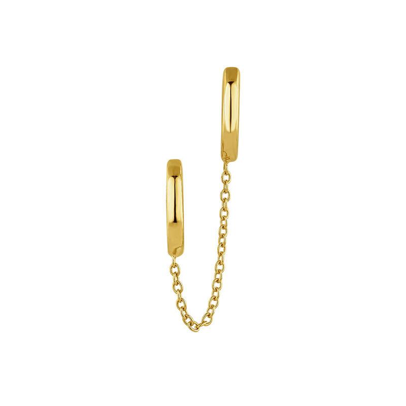 Boucle d'oreilles créole double à anneaux argent plaqué or, J04872-02-H, hi-res