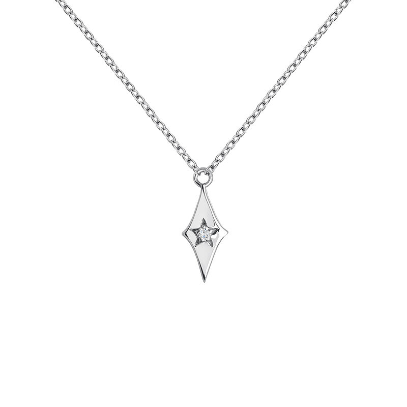 Collier étoile diamant or blanc 0,01 ct, J03886-01, hi-res
