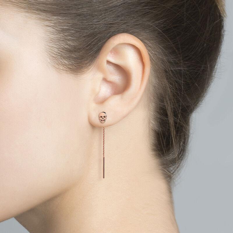 Boucles d'oreilles tête de mort or rose, J03944-03, hi-res