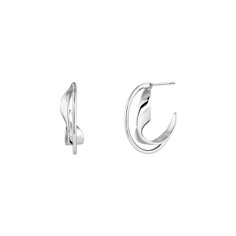 Medium silver sculptural hoop earrings , J04219-01, hi-res