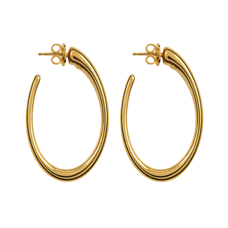 Gold oval earrings, J00933-02, hi-res