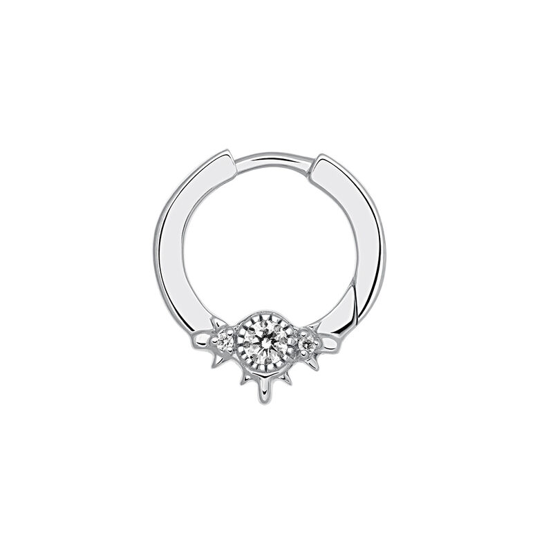 White gold hoop earring piercing with six diamonds 0.102 ct