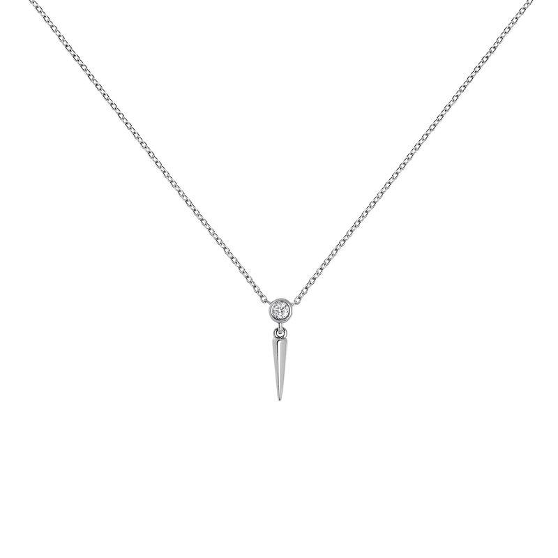Collier pointe diamant or blanc 0,021 ct, J03885-01, hi-res