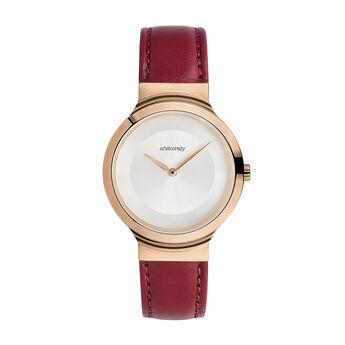 Montre Vesterbro bracelet cuir rouge, W48A-PKPKGR-LERD, hi-res