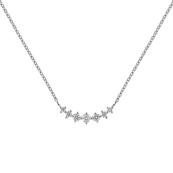 White gold 7 diamonds cross necklace, J03366-01, hi-res
