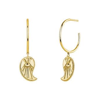 Boucles d'oreilles créoles cachemire or, J04131-02-BSN, hi-res