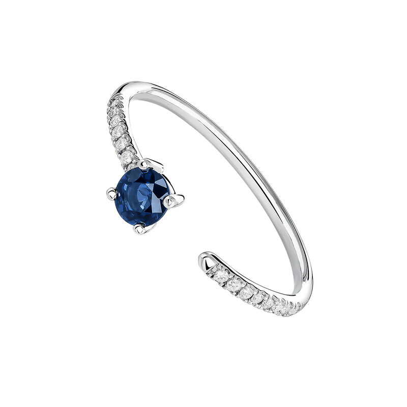 Bague ouverte saphir et diamants or blanc, J04064-01-BS, hi-res