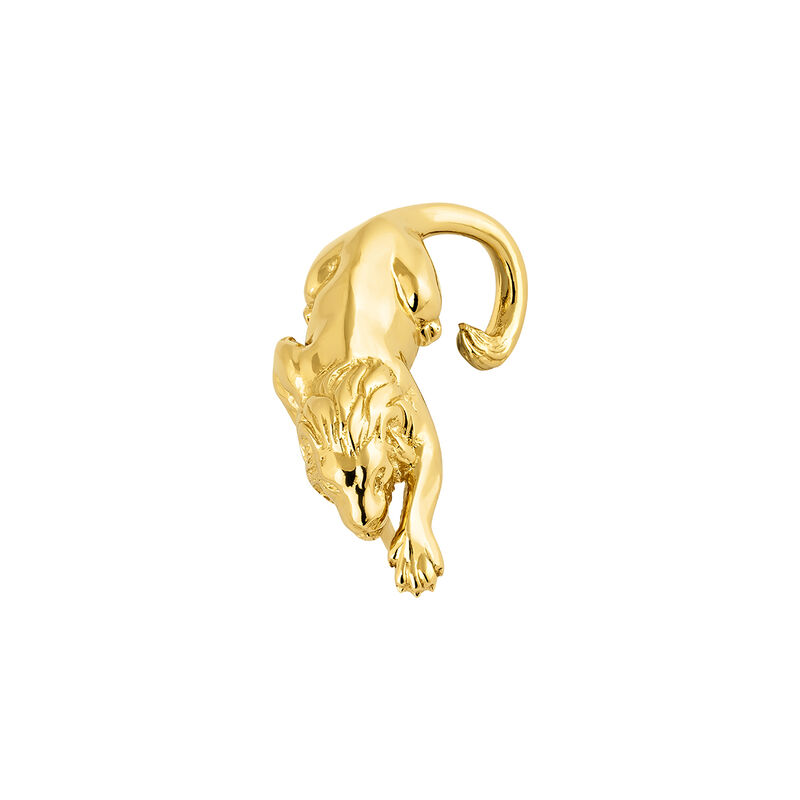 Gold plated lion earring, J04239-02-H, hi-res