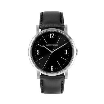 Montre Brooklyn bracelet cuir cadran noir, W45A-STSTBL-LEBL, hi-res