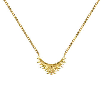 Gold plated leaf motif necklace, J04603-02, hi-res