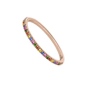 Anillo pavé de zafiros multicolor y tsavorita oro rosa, J04339-03-MULTI, hi-res