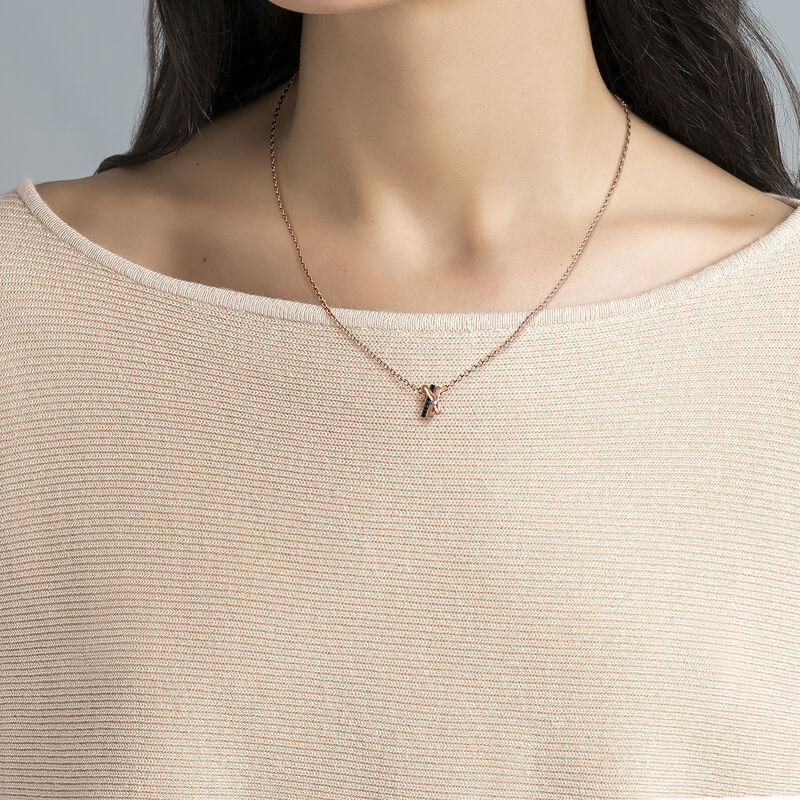 Rose gold plated necklace topaz spinels, J03353-03-BSN-WT, hi-res