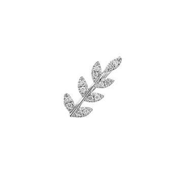 Boucle d'oreille feuille diamants argent, J03709-01-GD-L, hi-res