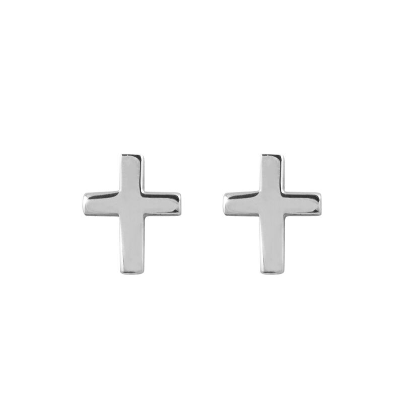 Silver cross earrings, J00865-01, hi-res