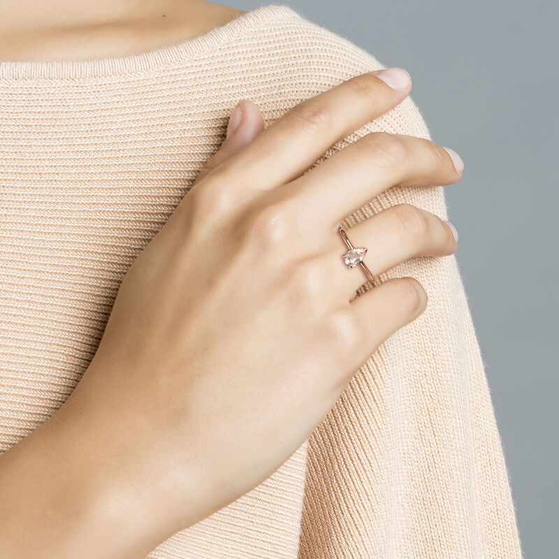 Rose gold plated pear stone Ring, J03819-03-PQ, hi-res