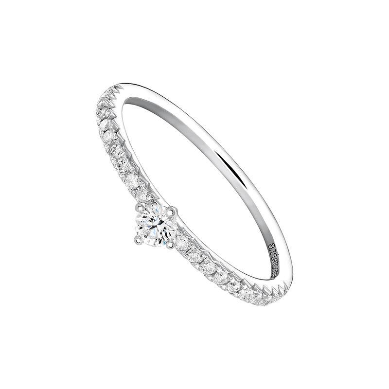 Bague solitaire avec halo diamants 0,11 or blanc, J03933-01-13-11, hi-res