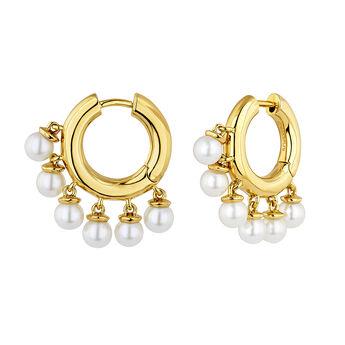 Gold plated silver pearl hoop earrings, J04730-02-WP, hi-res