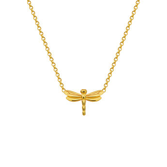 Gold dragonfly necklace, J03183-02, hi-res