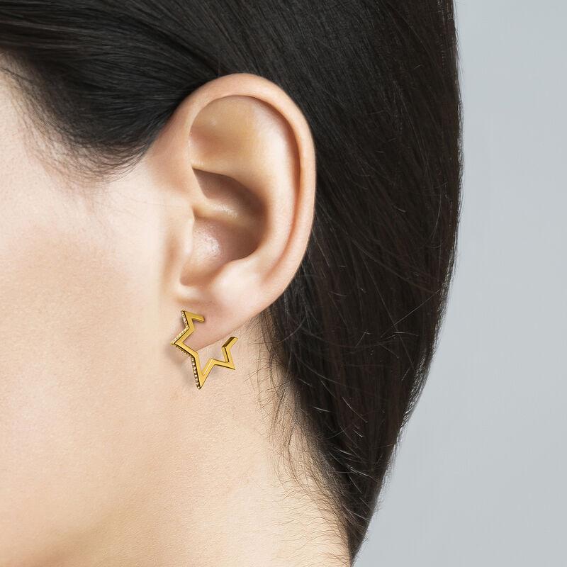 Boucles d'oreilles petite étoile argent plaqué or avec topazes, J03635-02-WT, hi-res