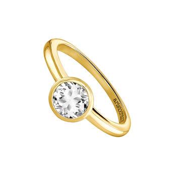 Medium round gold plated stone ring, J03814-02-WT, hi-res