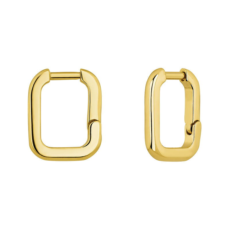 Gold-plated silver square earrings, J04649-02, hi-res