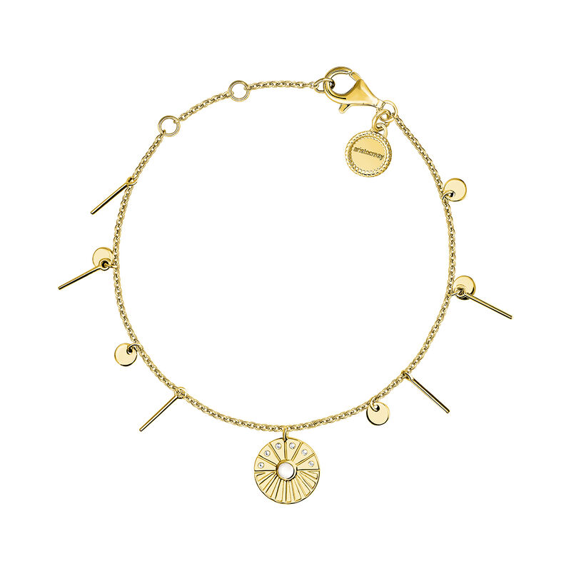 Gold plated medal bracelet with pendants, J04137-02-WT-WMS, hi-res