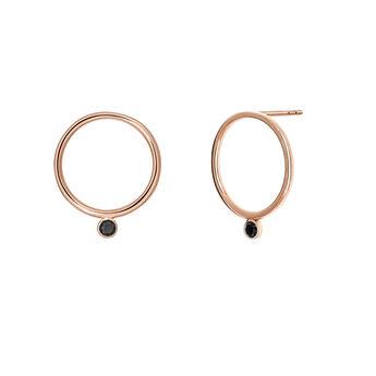 Rose gold spinel circle earrings, J03671-03-BSN, hi-res
